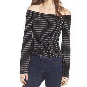 NWT BP. Twist Front Long Sleeve Off Shoulder Top